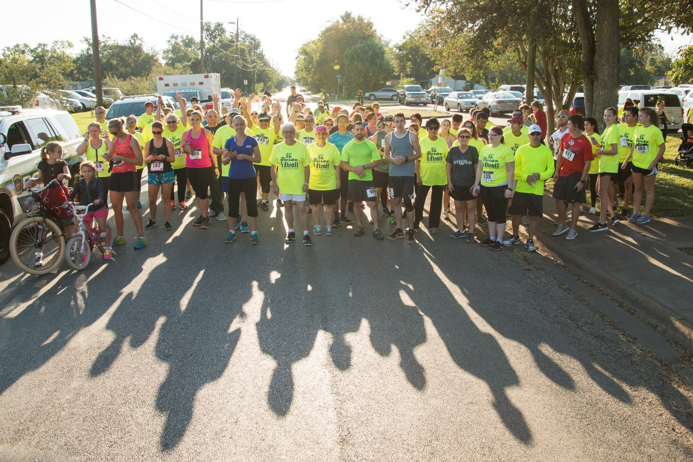 Runners and walkers line up for last year's 5K Stride & Stroll.